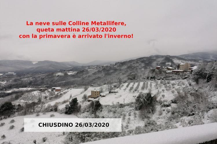 Meteo Toscana la neve sulle colline Metallifere da Chiusdino